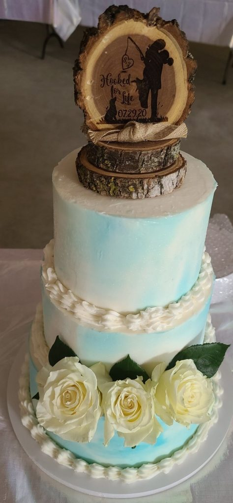 Blue Water Color Wedding Cake