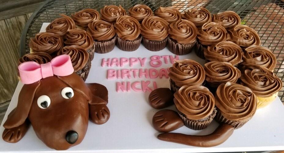 Doggie Birthday Cupcake Cake