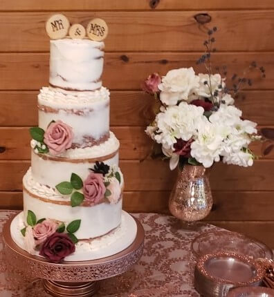Naked Cake with Faux Flower