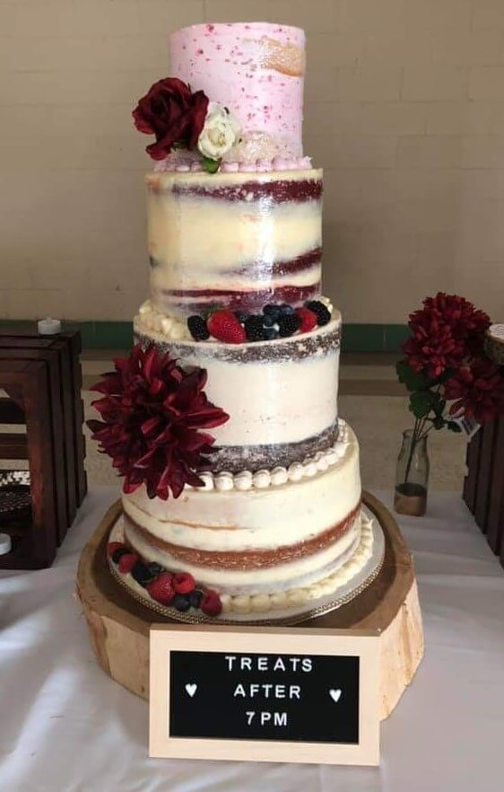 Naked Cake with Fruit and Faux Flowers