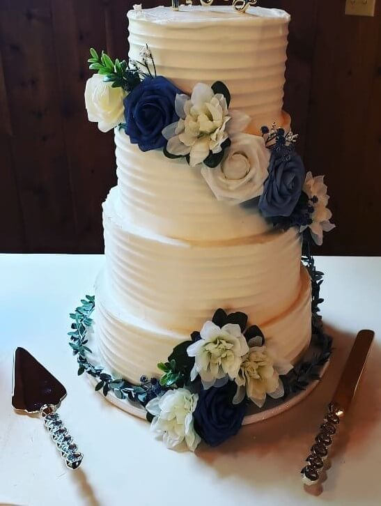 Rustic Line with Faux Blue Flowers