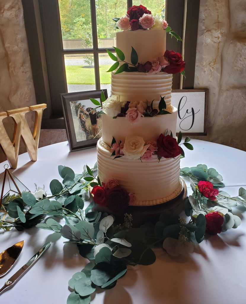 Rustic and Smooth Floral Wedding Cake