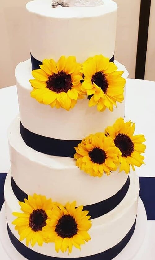 Sunflower and Royal Wedding Cake